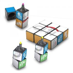 Surligneurs Rubik's Cube personnalisés